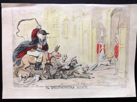 James Gillray 1851 HCol Caricature Print. The Westminster Hunt